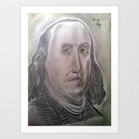 BENJAMIN FRANKLIN GRAPHITE DRAWING Art Print