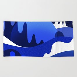 Terrazzo landscape blue night Beach Towel