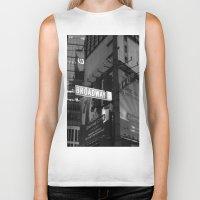 broadway Biker Tanks featuring  Broadway & W42nd St by Suzanne Kurilla