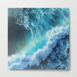Waving Blue Metal Print