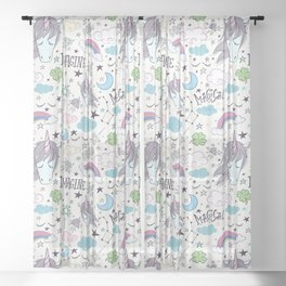Magical Rainbow, Unicorn And Crystal Pattern Sheer Curtain