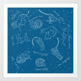Big Cats Constellations (Light Blue Sky) Art Print