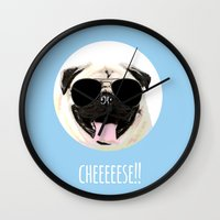 cheese Wall Clocks featuring CHEESE by Laura Maria Designs