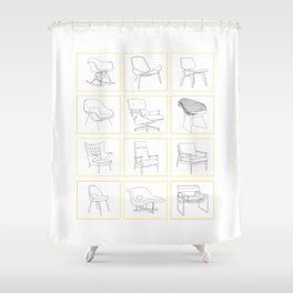 Mid Century Chairs Shower Curtain