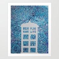 tardis Art Prints featuring Tardis by Sahara Novotny