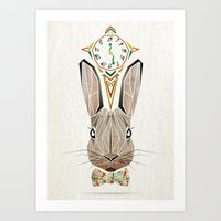 rabbit Art Prints featuring rabbit by Manoou