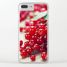 ripe red currant berries close up shot Clear iPhone Case