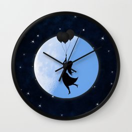Starry Night Balloons Girl Wall Clock