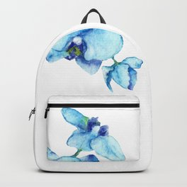 Blue Orchids - Watercolor Botanical Art Backpack