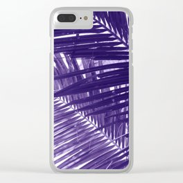 Violet Coco Palm Leaf. Tropical Nature Photo Poster Clear iPhone Case