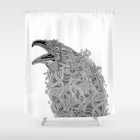 raven Shower Curtains featuring Raven by Olya Goloveshkina