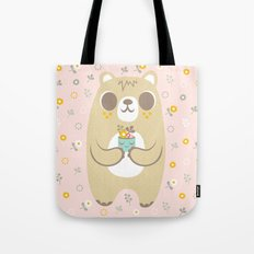 Cute Bear Holding a Plant Tote Bag