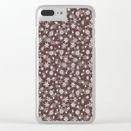 Festive Brown Granite and White Christmas Holiday Snowflakes Clear iPhone Case