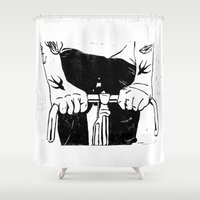 grease Shower Curtains featuring Ink & Grease by lucciole