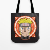 naruto Tote Bags featuring Mecha Naruto by Enrique Valles