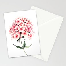 Watercolor flower phlox Stationery Cards