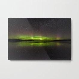 Shawbost shore aurora and stars reflected.  Metal Print