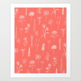Patagonian wildflowers living Coral Art Print
