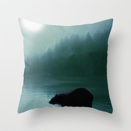 Stepping Into The Moonlight - Black Bear and Moonlit Lake Throw Pillow
