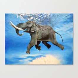 Rajan The Swimming Elephant Canvas Print
