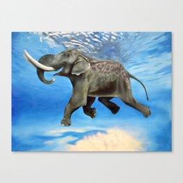 Rajan The Swimming Elephant Canvas Print
