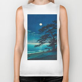 Vintage Japanese Woodblock Print Moonlight Over Ocean Japanese Landscape Tall Tree Silhouette Biker Tank