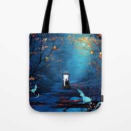 Tardis Lost In The Forest Tote Bag