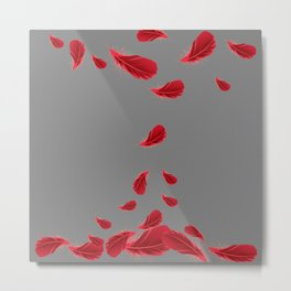 SCATTERED  SURREAL FLOATING SCARLET RED FEATHERS ON GREY COLOR Metal Print