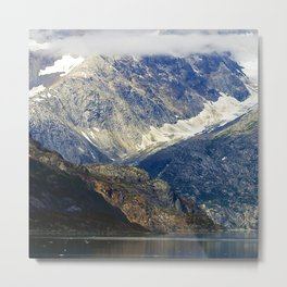 Alaska's Rugged Mountains Framed by Misty Clouds Metal Print