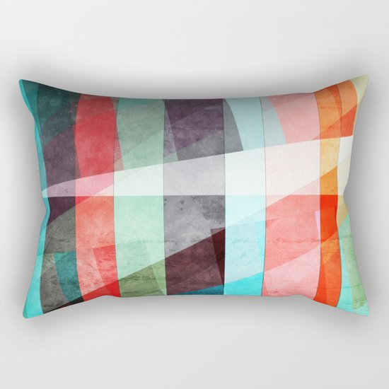 Colorful Grunge Stripes Abstract Rectangular Pillow