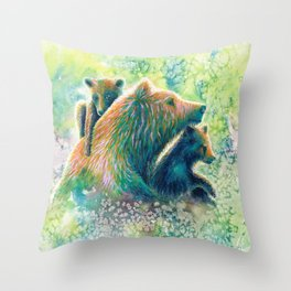 Mother Grizzly Bear Throw Pillow