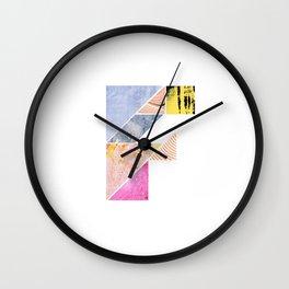 Collaged Tangram Alphabet - F Wall Clock