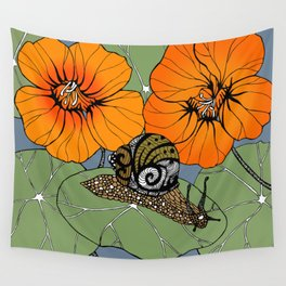 Snail on Nasturtiums Wall Tapestry