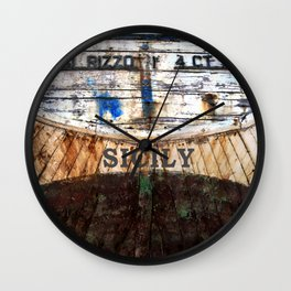 Old Wreck in Acitrezza on the Isle of Sicily Wall Clock
