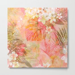 Tropical Pattern in Coral & Green Metal Print