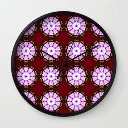 Purple White Flower on Burgundy Pattern Wall Clock