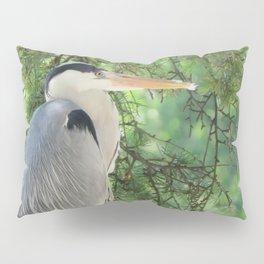 Grey heron (Ardea Cinerea) amongst trees Pillow Sham