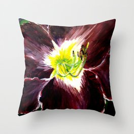Purple with Yellow Center Daylily Throw Pillow