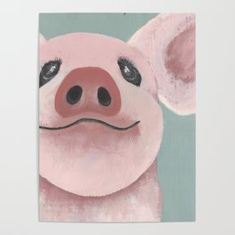 Original Painting - Farm Friends - Baby Pig - Cute Pig Painting Poster