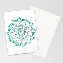 Mandalas Dotted in Gradient Green  Stationery Cards