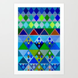 Cobalt Blue Diamond pattern Art Print