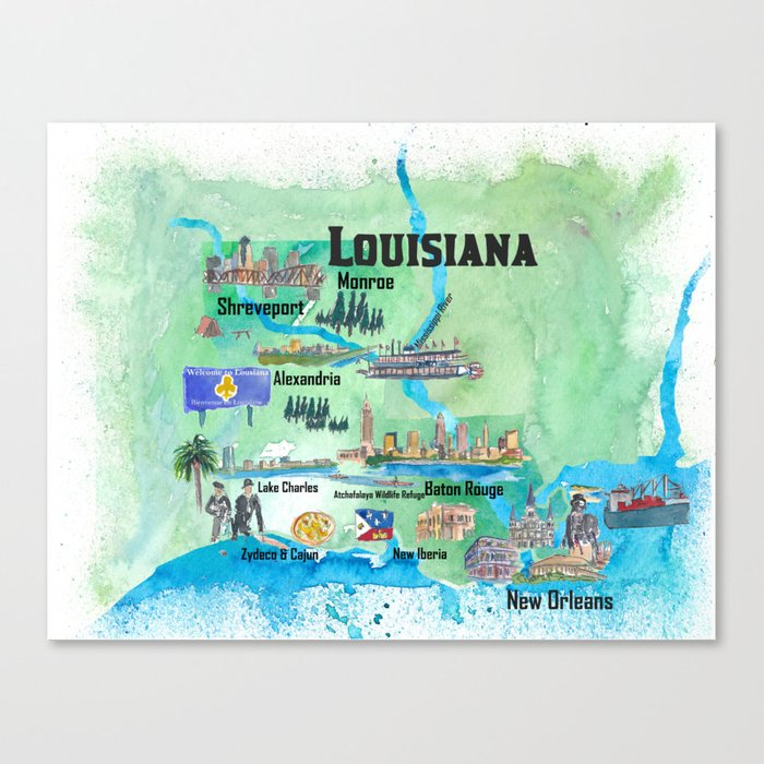 USA Louisiana State Travel Poster Map with Tourist Highlights Canvas Print  by artshop77