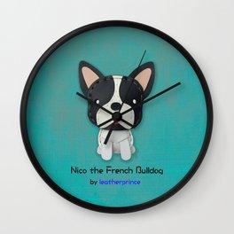 Nico the French Bulldog by leatherprince Wall Clock