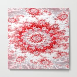 Candy Cane Flower Swirl Fractal - abstract Art Metal Print