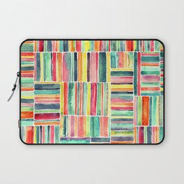 Retro Beach Chair Bright Watercolor Stripes on White Laptop Sleeve