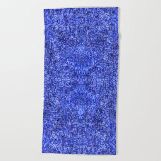 Royal blue swirls doodles Beach Towel