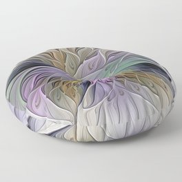 Abstract Flower, Colorful Floral Fractal Art Floor Pillow