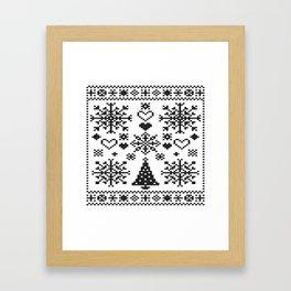 Christmas Cross Stitch Embroidery Sampler Black And White Framed Art Print