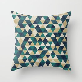 Foggy Petrol and Blue - Hipster Geometric Triangle Pattern Throw Pillow