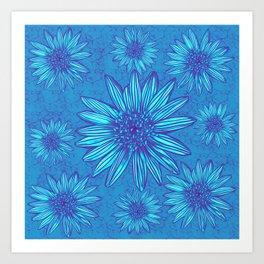 Winter Daisies in ice blue Art Print